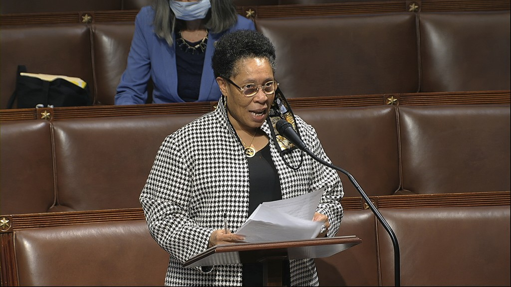 In this image from video, Rep. Marcia Fudge, D-Ohio, speaks on the floor of the House of Representatives at the U.S. Capitol in Washington, Thursday, ...