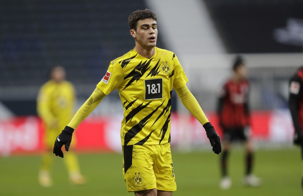 Dortmund's Giovanni Reyna reacts during the German Bundesliga soccer match between Eintracht Frankfurt and Borussia Dortmund in Frankfurt, Germany, Sa...