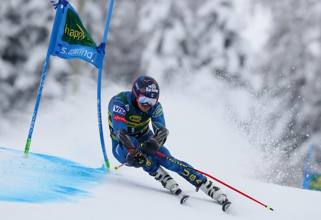 United States' Tommy Ford competes during the first run of an alpine ski, World Cup men's giant slalom in Santa Caterina Valfurva, Italy, Monday, Dec....