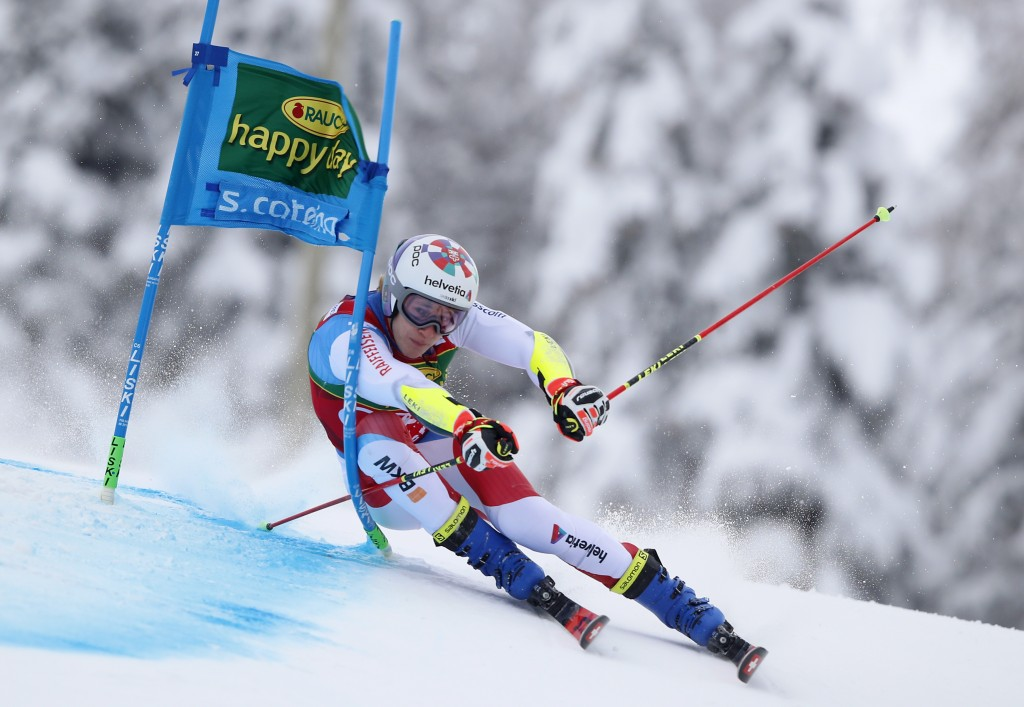 Switzerland's Marco Odermatt competes during the first run of an alpine ski, World Cup men's giant slalom in Santa Caterina Valfurva, Italy, Monday, D...