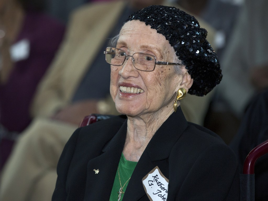 FILE - In this Feb. 22, 2016, file photo, provided by NASA, Katherine G. Johnson is honored at the Virginia Air and Space Center in Hampton, Va. Johns...