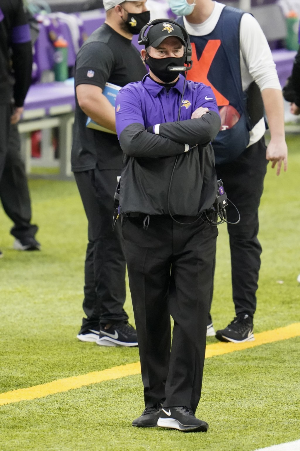 Minnesota Vikings head coach Mike Zimmer stands on the sideline during the first half of an NFL football game against the Jacksonville Jaguars, Sunday...