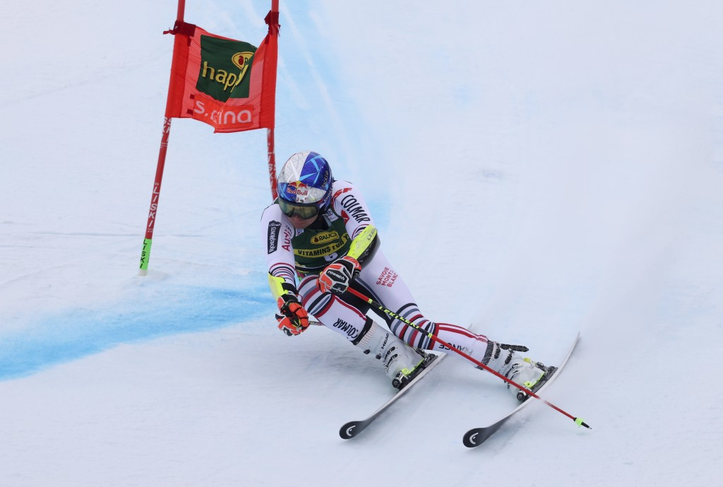 France's Alexis Pinturault competes during the first run of an alpine ski, World Cup men's giant slalom in Santa Caterina Valfurva, Italy, Monday, Dec...