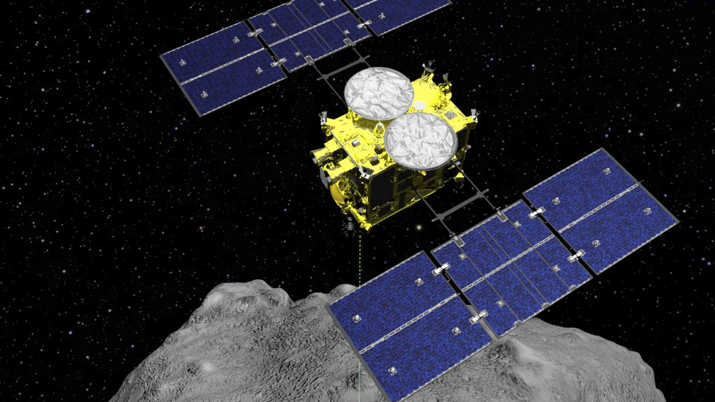 FILE - This computer graphics file image released by the Japan Aerospace Exploration Agency (JAXA) shows the Hayabusa2 spacecraft above the asteroid R...