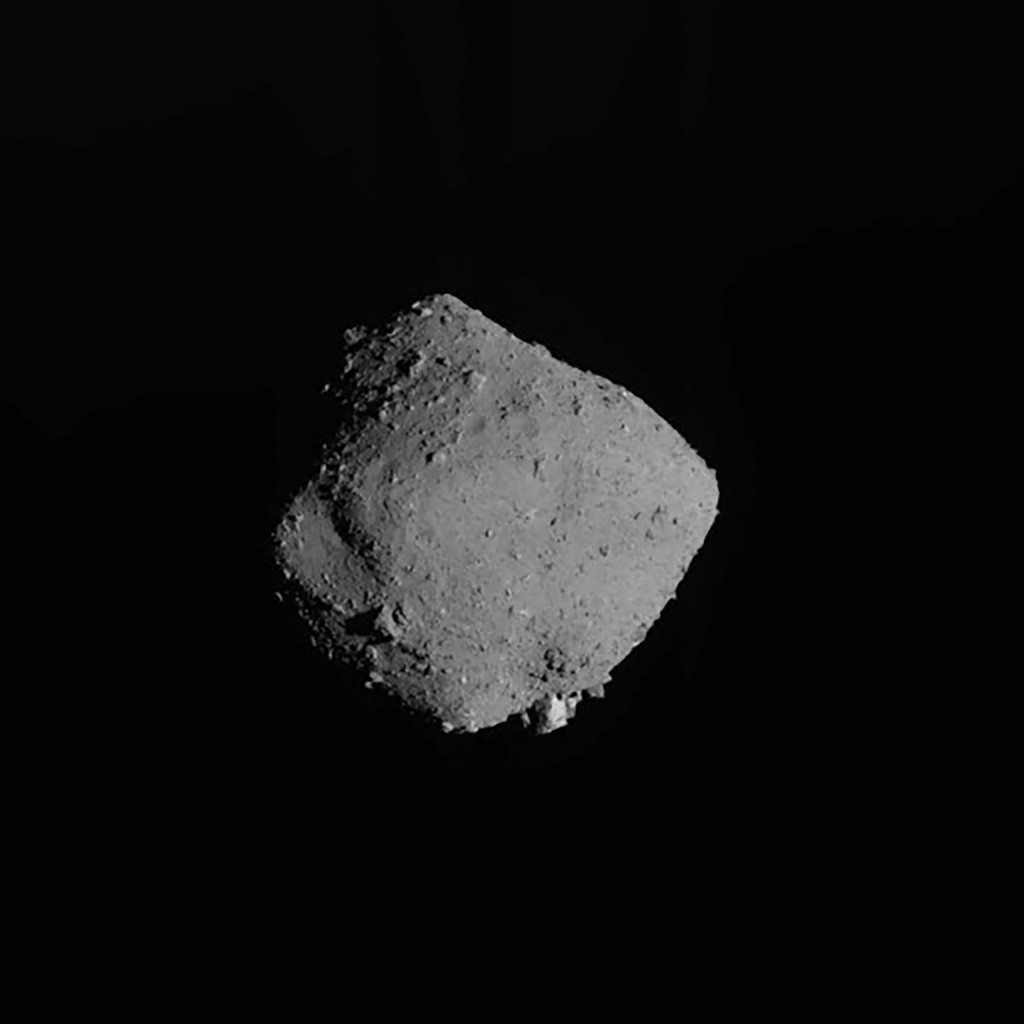FILE - In this Nov. 13, 2019, file image released by the Japan Aerospace Exploration Agency (JAXA), shows asteroid Ryugu taken by Japan's Hayabusa2 sp...