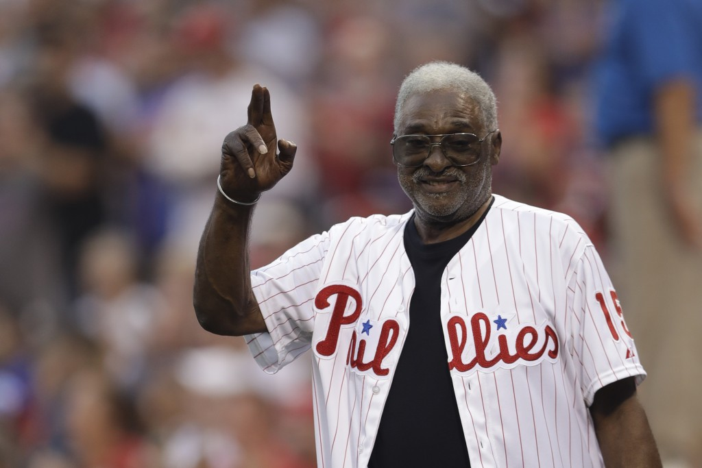 FILE - Former Philadelphia Phillies' Dick Allen waves to the crowd before a baseball game against the New York Mets in Philadelphia, in this Saturday,...