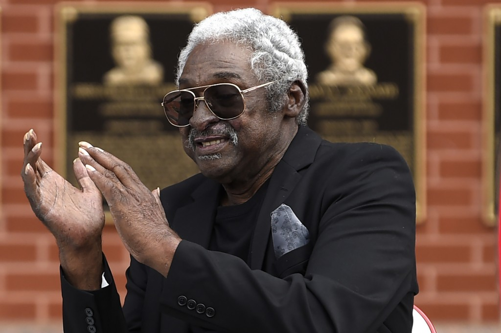 FILE - Former Philadelphia Phillies player Dick Allen reacts after a ceremony unveiling his retired number prior to a baseball game between the Philli...