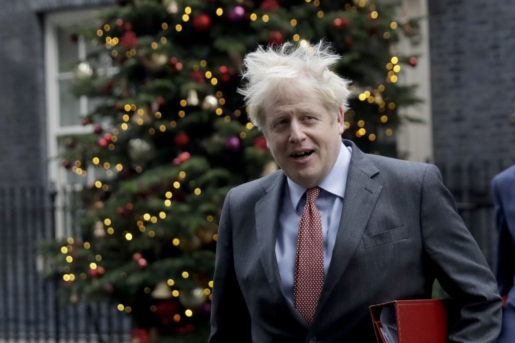 British Prime Minister Boris Johnson leaves 10 Downing Street in London, to attend a cabinet meeting at the Foreign, Commonwealth and Development Offi...