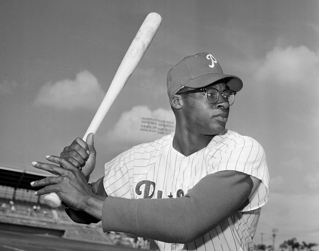 FILE - This is a March 1964 file photo showing Philadelphia Phillies baseball player Dick Allen at spring training in Clearwater, Fla. Dick Allen, a f...