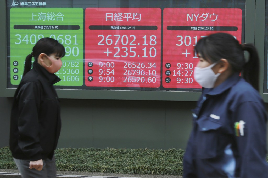 People wearing face masks to help curb the spread of the coronavirus walk by an electronic stock board of a securities firm in Tokyo, Wednesday, Dec. ...