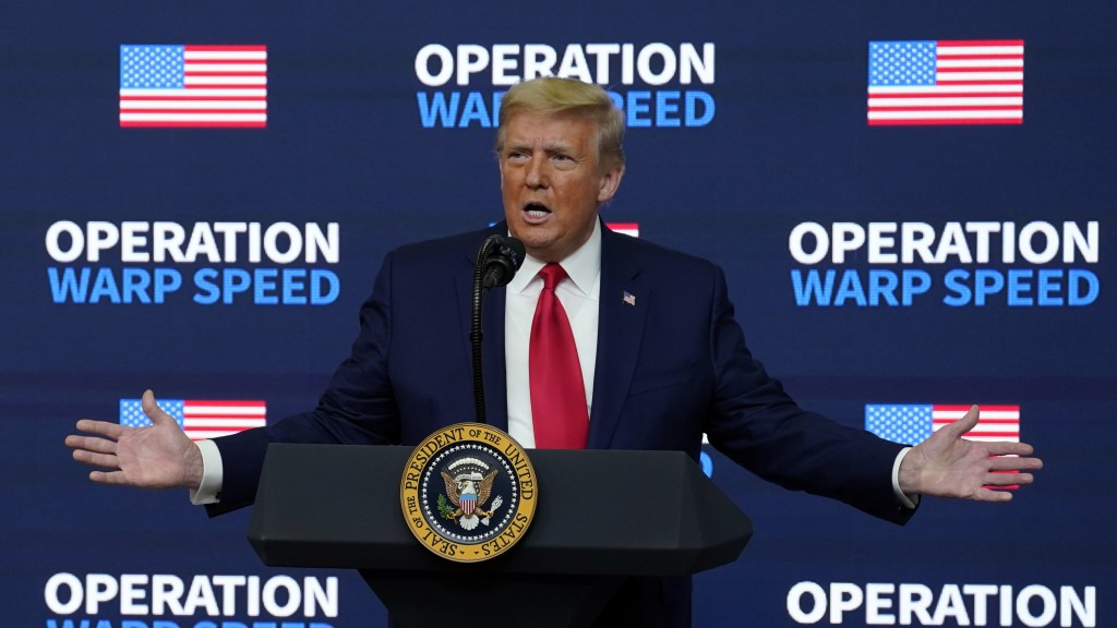 "President Donald Trump speaks during an ""Operation Warp Speed Vaccine Summit"" on the White House complex, Tuesday, Dec. 8, 2020, in Washington. (AP Ph..."