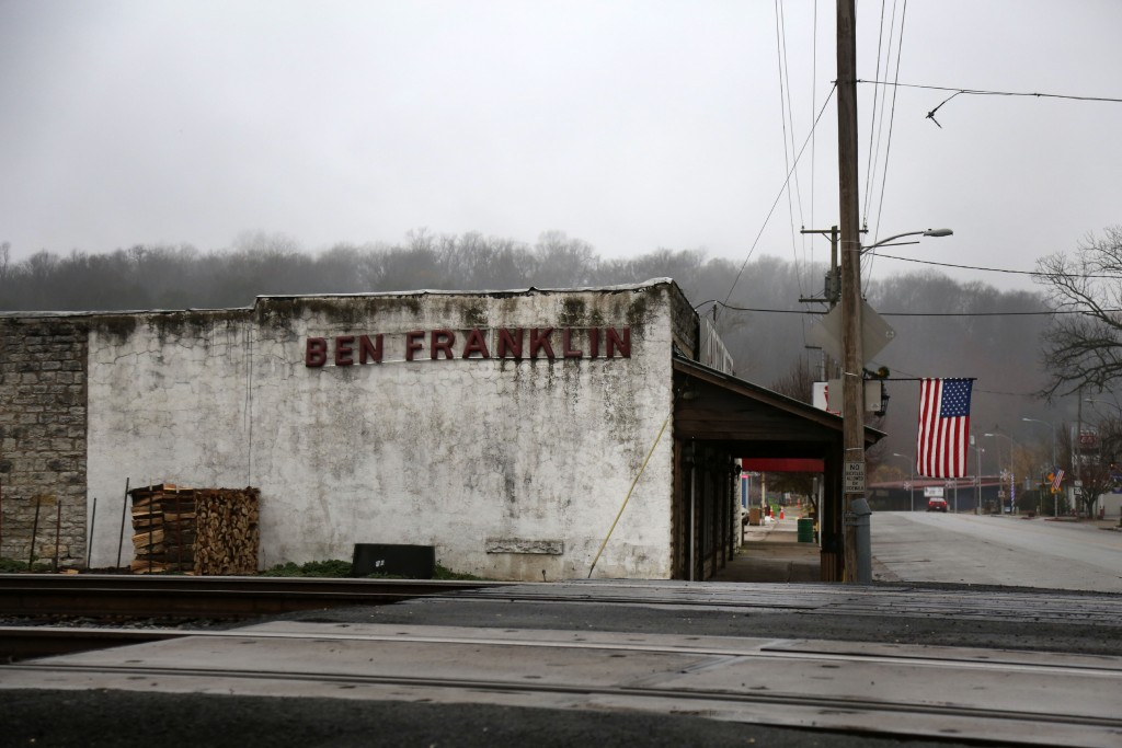 An American flag hangs outside the Landon's Feed and Seed store located on Main Street in Noel, Mo., Monday, Nov. 23, 2020. The once predominantly whi...