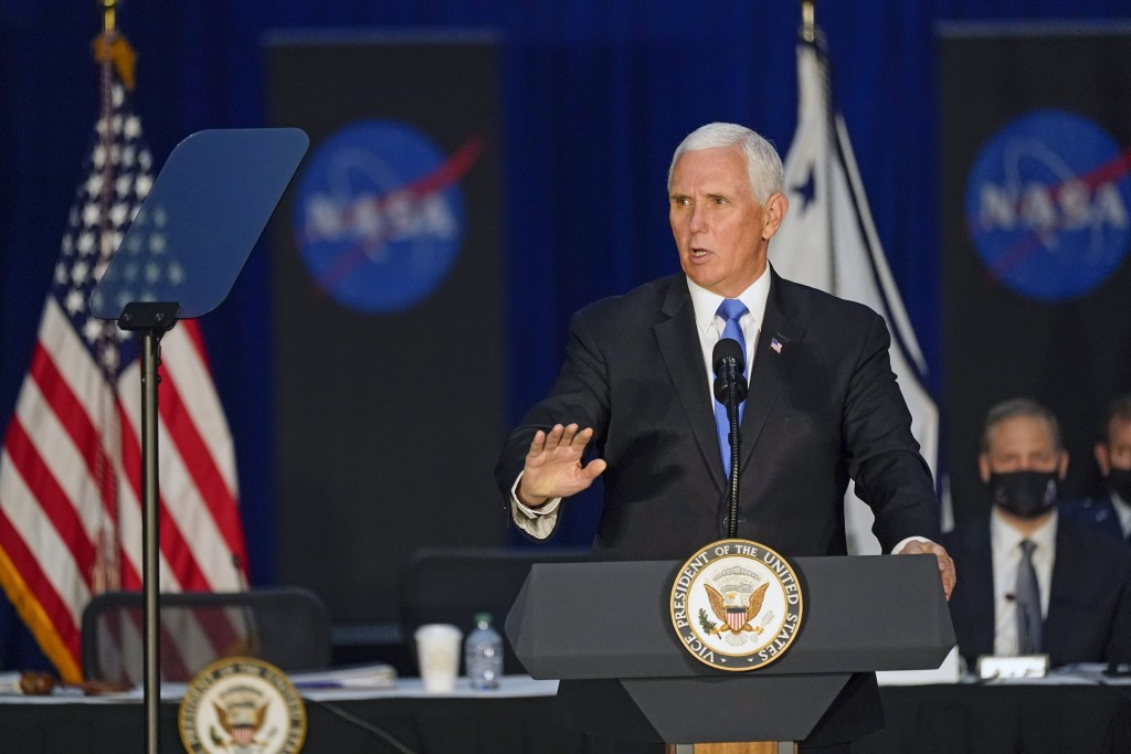 Vice President Mike Pence speaks during the eighth meeting of the National Space Council at the Kennedy Space Center Wednesday, Dec. 9, 2020, in Cape ...