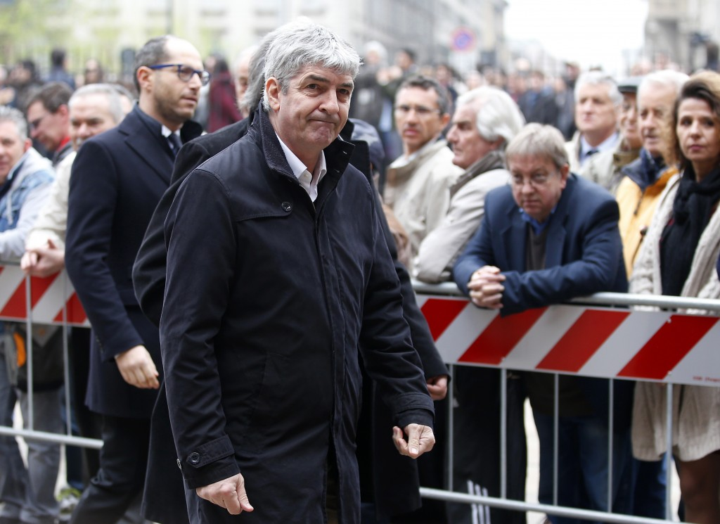 FILE - In this Tuesday, April 5, 2016 filer, former soccer player Paolo Rossi attends the funeral of former Italy coach Cesare Maldini funeral, at Mil...