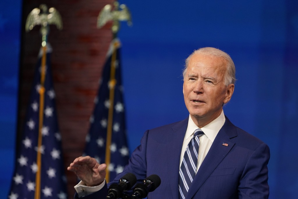 President-elect Joe Biden speaks during an event to announce his choice of retired Army Gen. Lloyd Austin to be secretary of defense, at The Queen the...