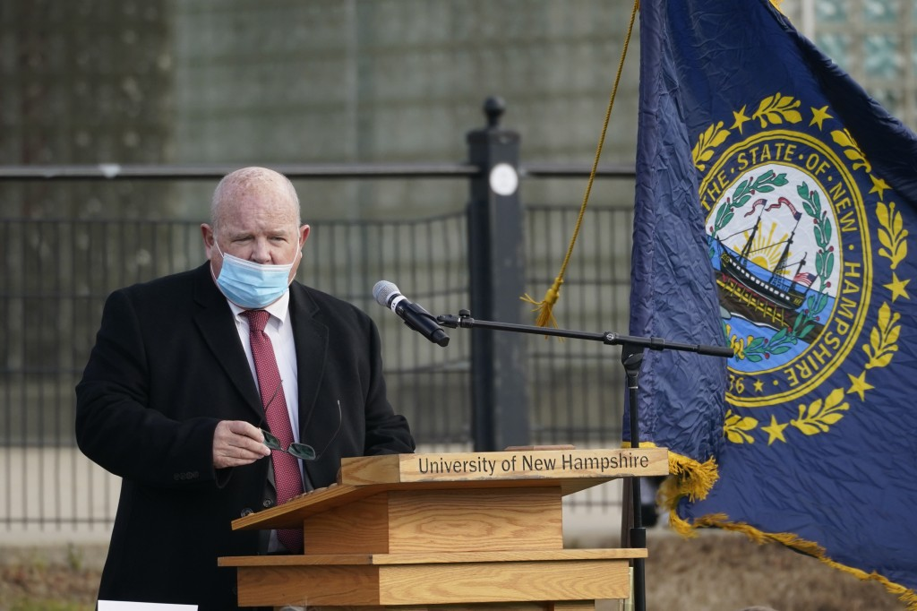 In this Dec. 2, 2020 photo, New Hampshire House Speaker Dick Hinch speaks during an outdoor legislative session at the University of New Hampshire in ...