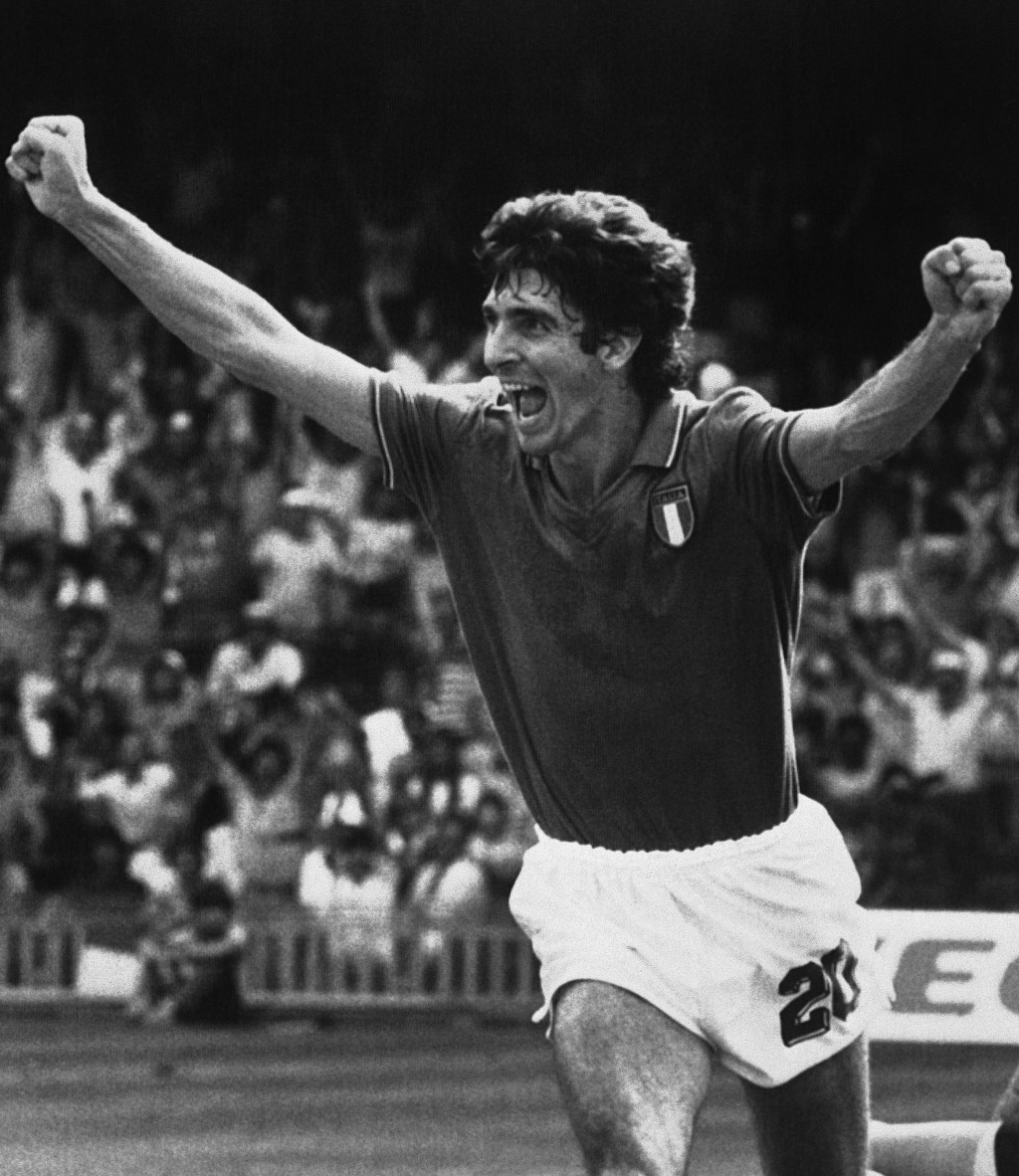 FILE - In this July 8, 1982 file photo, Italy's Paolo Rossi races across the pitch after scoring his team's first goal against Poland during the socce...
