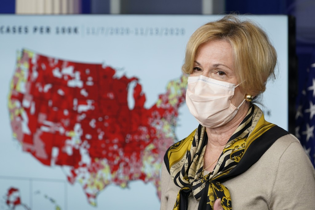 FILE - In this Nov. 19, 2020, file photo, White House Coronavirus Response Coordinator Dr. Deborah Birx speaks during a news conference with the coron...
