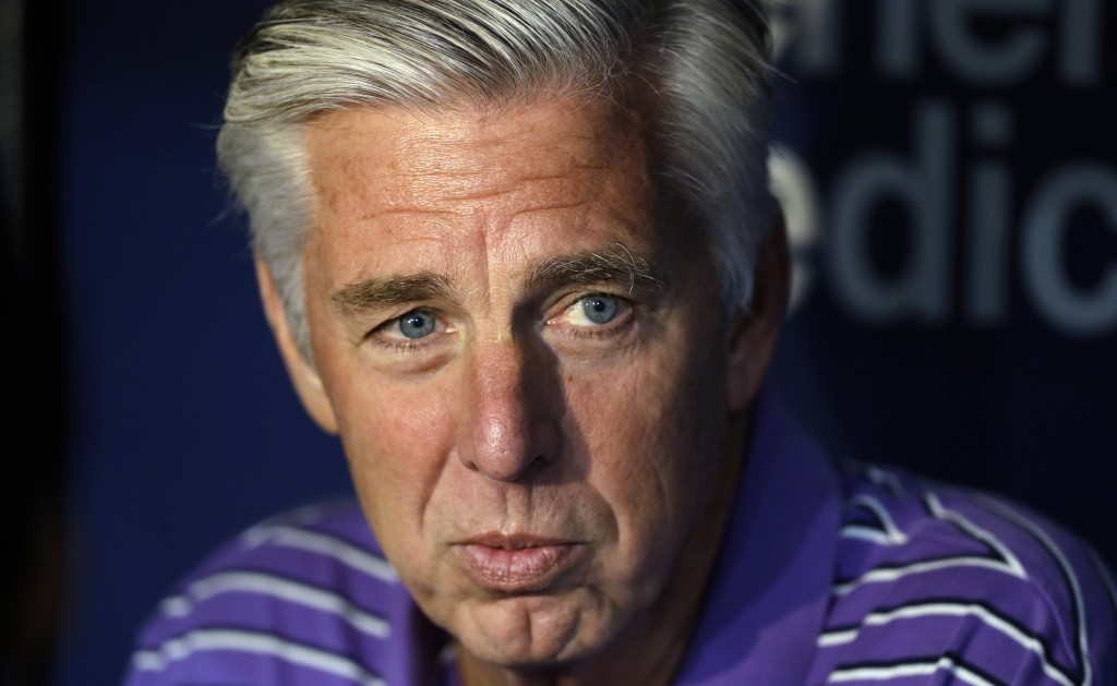 FILE - In this April 19, 2019, file photo, Boston Red Sox general manager Dave Dombrowski talks before the team's baseball game against the Tampa Bay ...