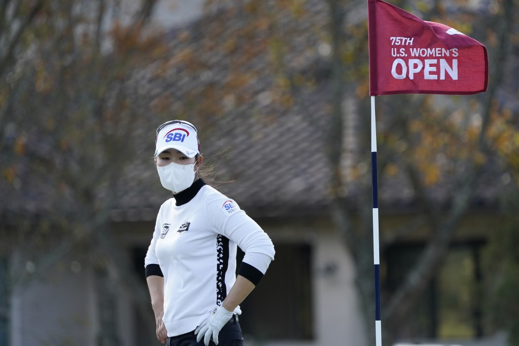 A Lim Kim of South Korea, walks on the fourth green, during the first round of the U.S. Women's Open Golf tournament, Thursday, Dec. 10, 2020, in Hous...