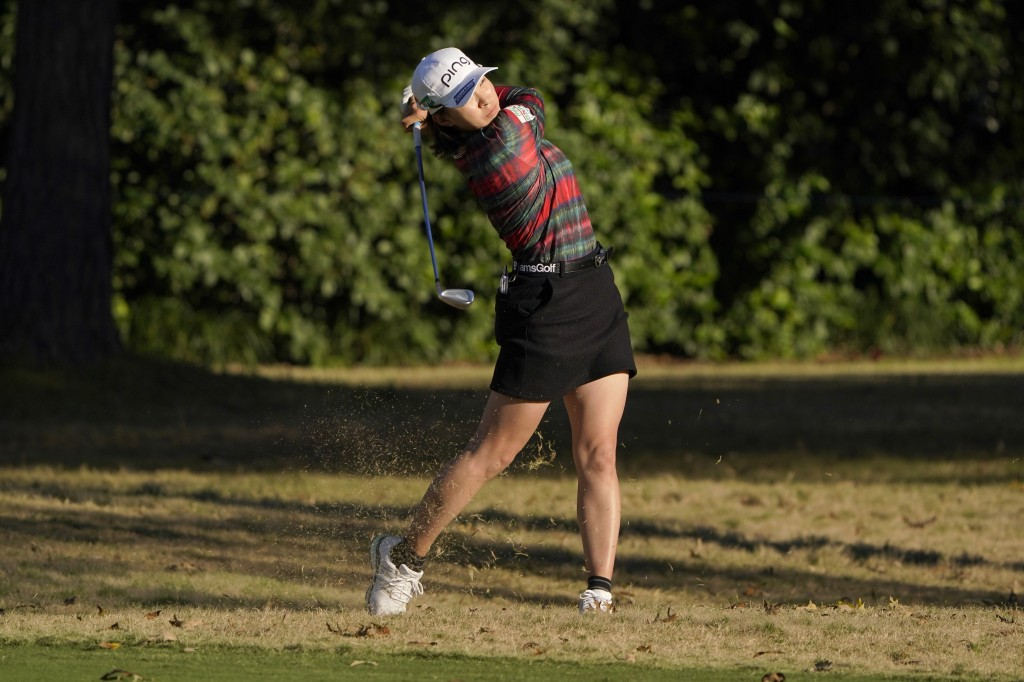 Hinako Shibuno, of Japan, watches her shot off the 9th fairway during the first round of the U.S. Women's Open golf tournament in Houston, Thursday, D...