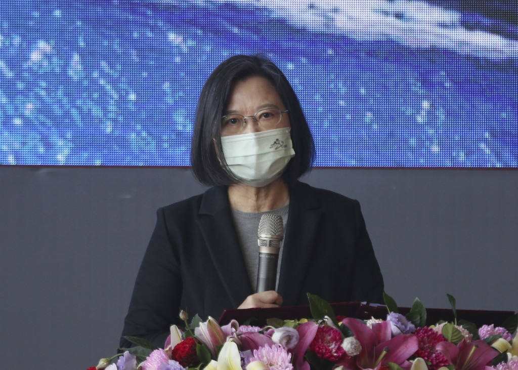 Taiwan's President Tsai Ing-wen speaks during a delivery and launching ceremony of domestically built warships at the Jong Shyn Shipbuilding Corp's sh...