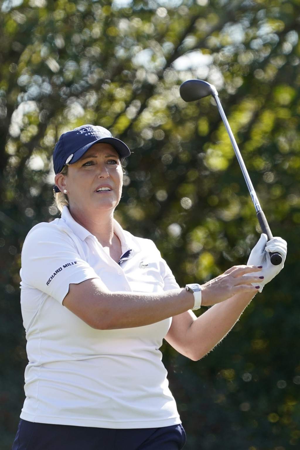 Cristie Kerr follows her shot from the 12th tee, during the first round of the U.S. Women's Open Golf tournament, Thursday, Dec. 10, 2020, in Houston....