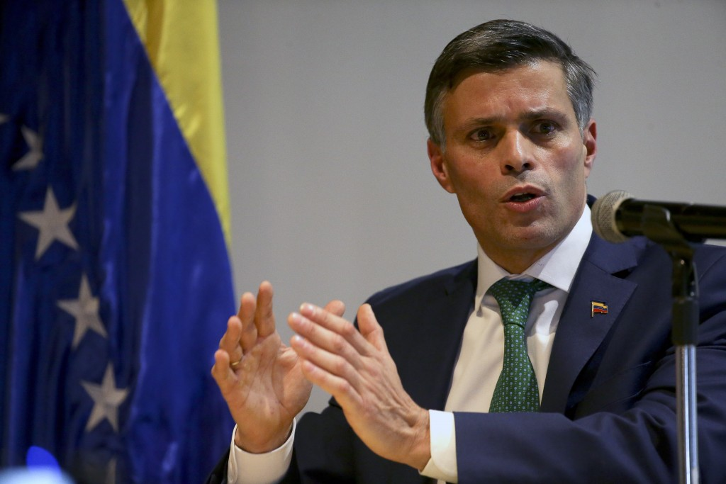 Prominent opposition activist Leopoldo Lopez speaks during a press conference, in Bogota, Colombia, Thursday, Dec. 10, 2020. Lopez,  who abandoned the...