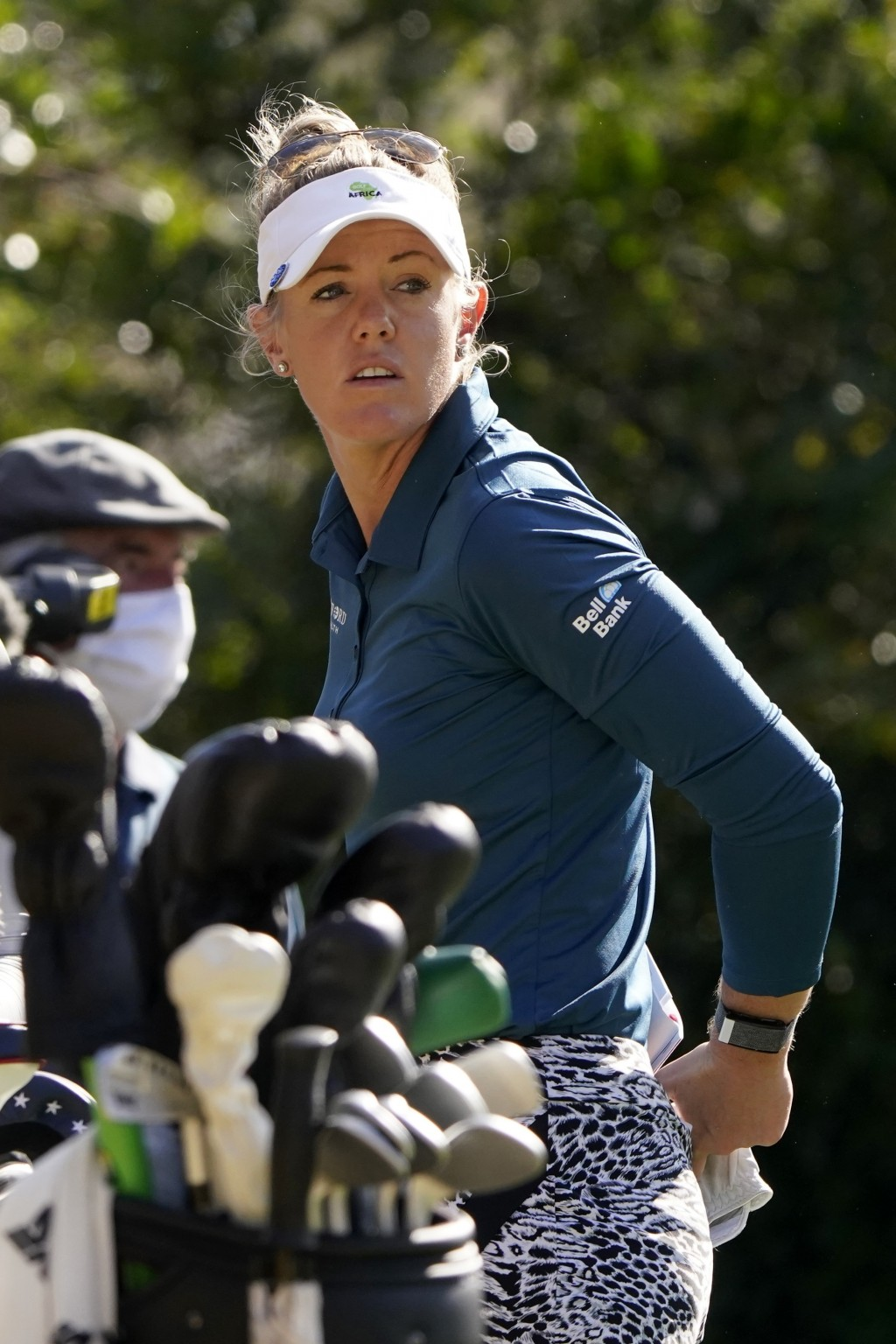 Amy Olson prepares to hit off the third tee during the first round of the U.S. Women's Open golf tournament in Houston, Thursday, Dec. 10, 2020. (AP P...
