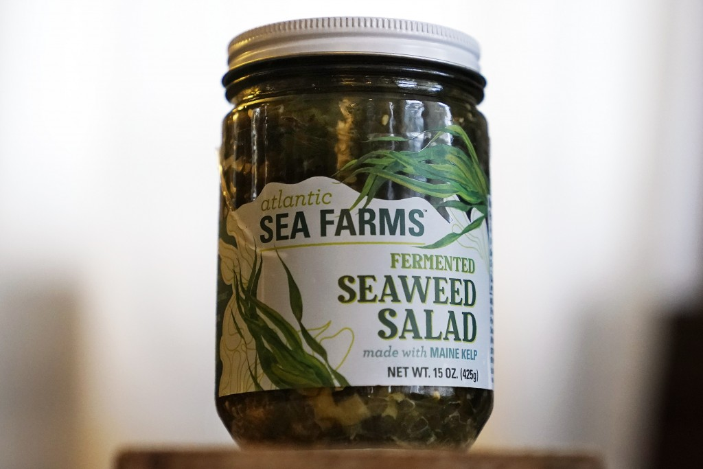 A jar of Atlantic Sea Farms seaweed salad is seen Thursday, Dec. 10, 2020, in Freeport, Maine. Like many pieces of the seafood industry, seaweed is hi...