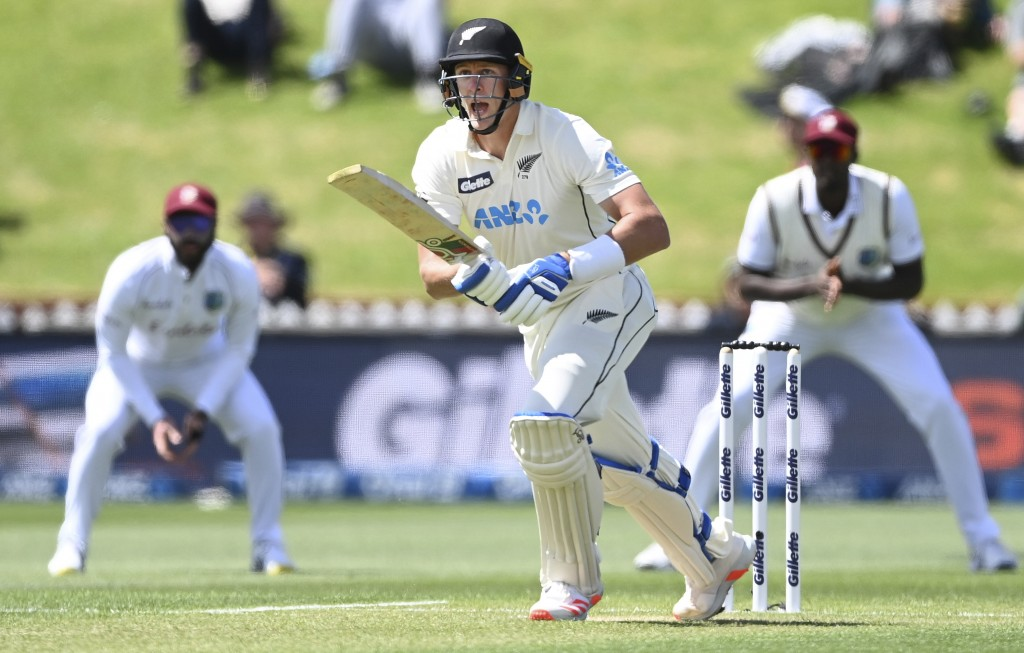 New Zealand's Kyle Jamieson looks to make runs against the West Indies during play on the second day of their second cricket test at Basin Reserve in ...
