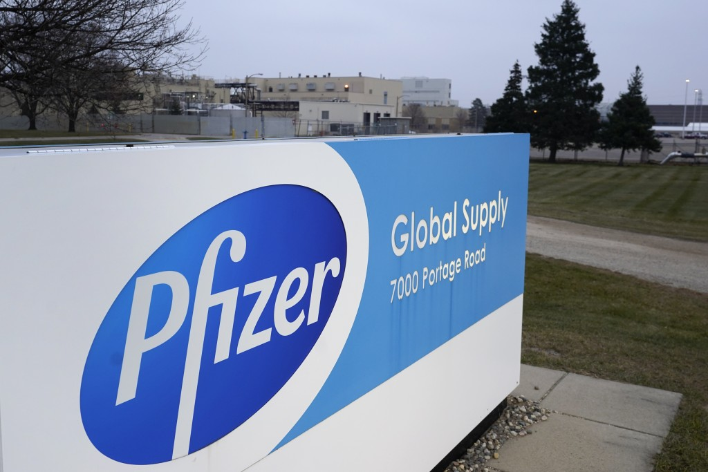 The Pfizer Global Supply Kalamazoo manufacturing plant is shown in Portage, Mich., Friday, Dec. 11, 2020. The U.S. gave the final go-ahead Friday to t...
