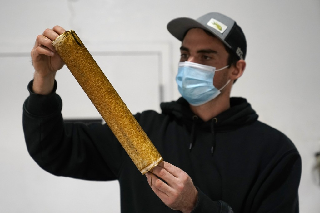 Peter Crimp, kelp supply director for Atlantic Sea Farms, inspects the growth of seaweed spores on a spool of twine at the company's nursery, Tuesday,...