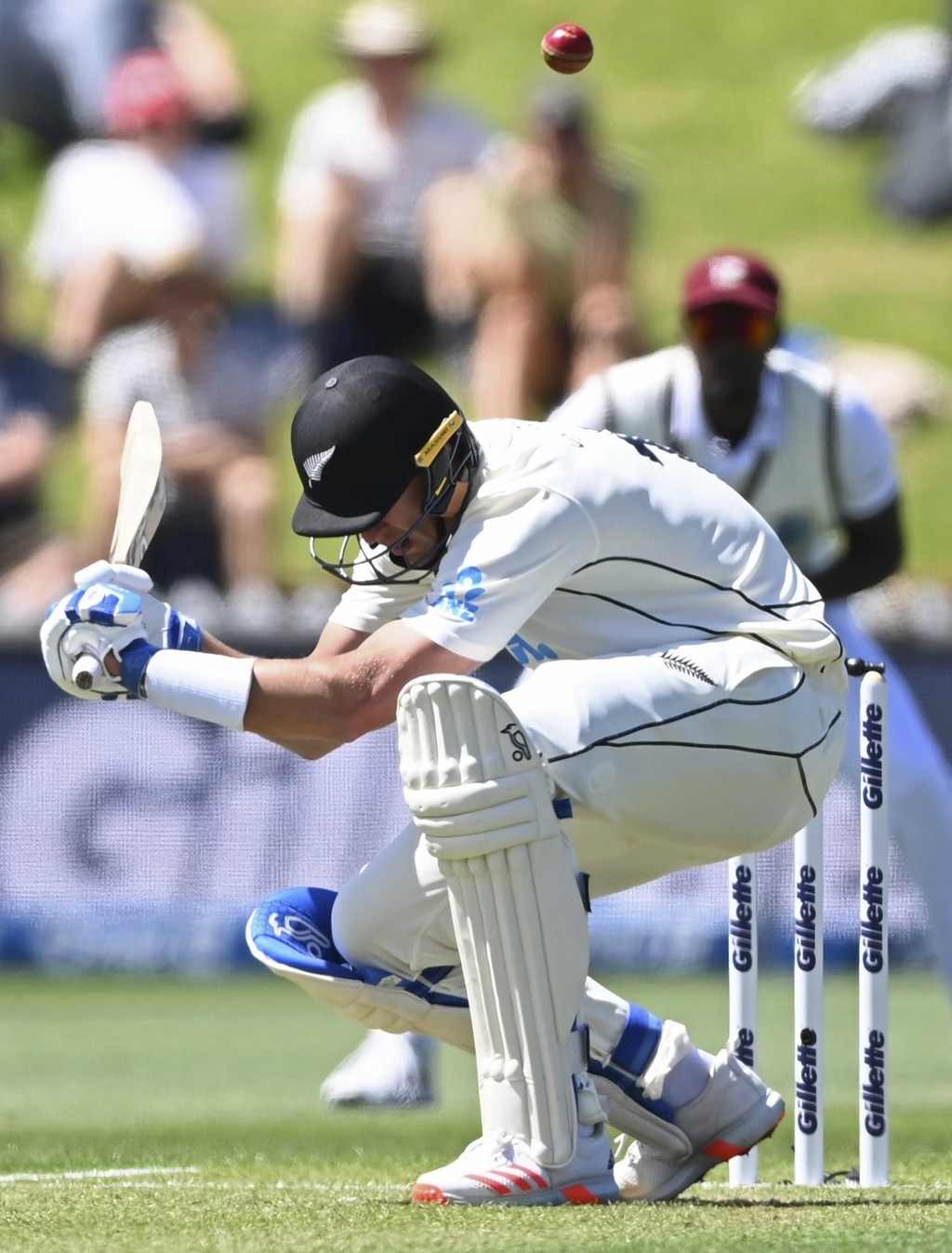 New Zealand's Kyle Jamieson avoids a high delivery from the West Indies during play on the second day of their second cricket test at Basin Reserve in...