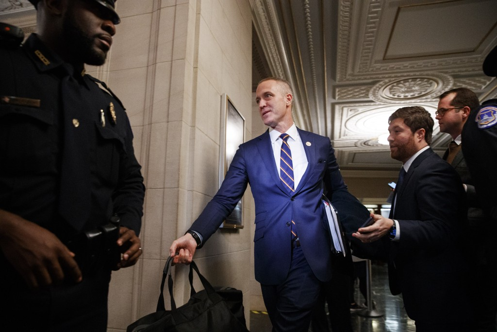 FILE - In this Nov. 21, 2019, file photo Rep. Sean Patrick Maloney, D-N.Y., carries a bag as he leaves the House Intelligence Committee on Capitol Hil...