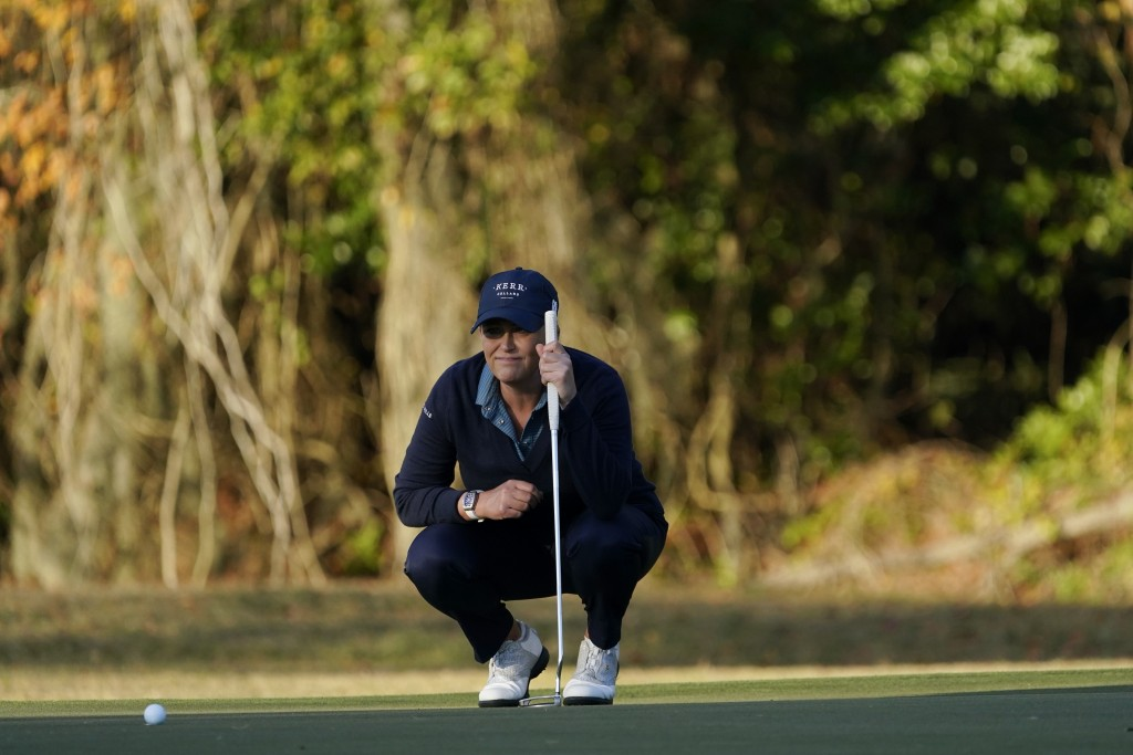 Cristie Kerr lines up a birdie putt on the 17th green during the third round of the U.S. Women's Open golf tournament, Saturday, Dec. 12, 2020, in Hou...