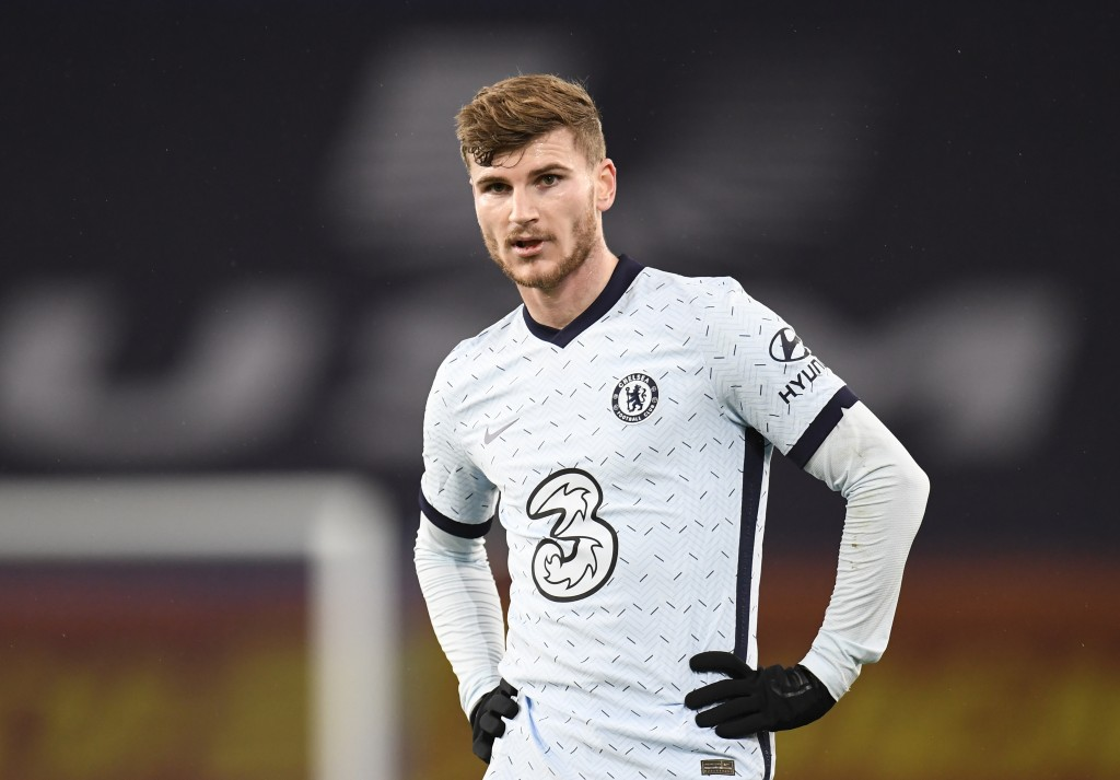 Chelsea's Timo Werner reacts during the English Premier League soccer match between Everton and Chelsea at Goodison Park in Liverpool, England, Saturd...