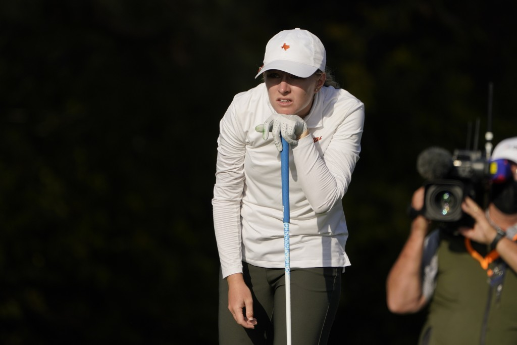 Kaitlyn Papp watches her drive on the 13th hole during the third round of the U.S. Women's Open golf tournament, Saturday, Dec. 12, 2020, in Houston. ...