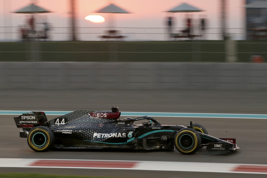 Mercedes driver Lewis Hamilton of Britain in action during the Formula One race at the Yas Marina racetrack in Abu Dhabi, United Arab Emirates, Sunday...