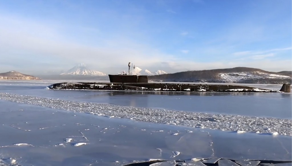 In this photo taken from video distributed by Russian Defense Ministry Press Service, the Vladimir Monomakh nuclear submarine of the Russian navy is s...