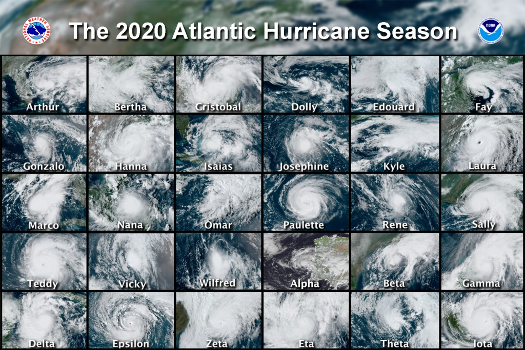This combination of satellite images provided by the National Hurricane Center shows 30 hurricanes which occurred during the 2020 Atlantic hurricane s...
