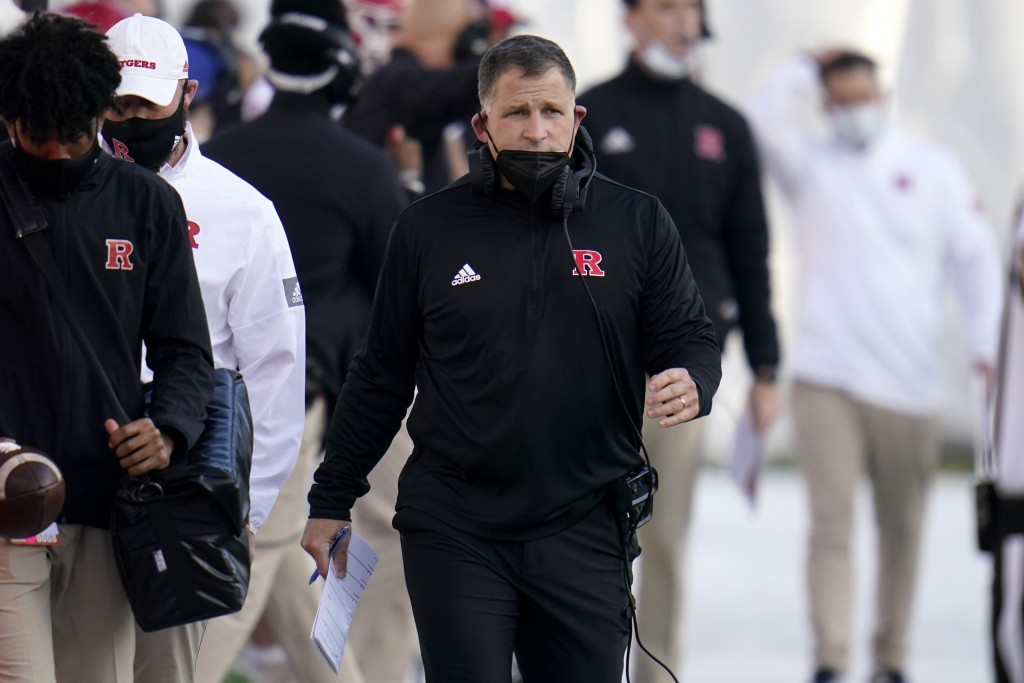 Rutgers head coach Greg Schiano looks on during the second half of an NCAA college football game against Maryland, Saturday, Dec. 12, 2020, in College...