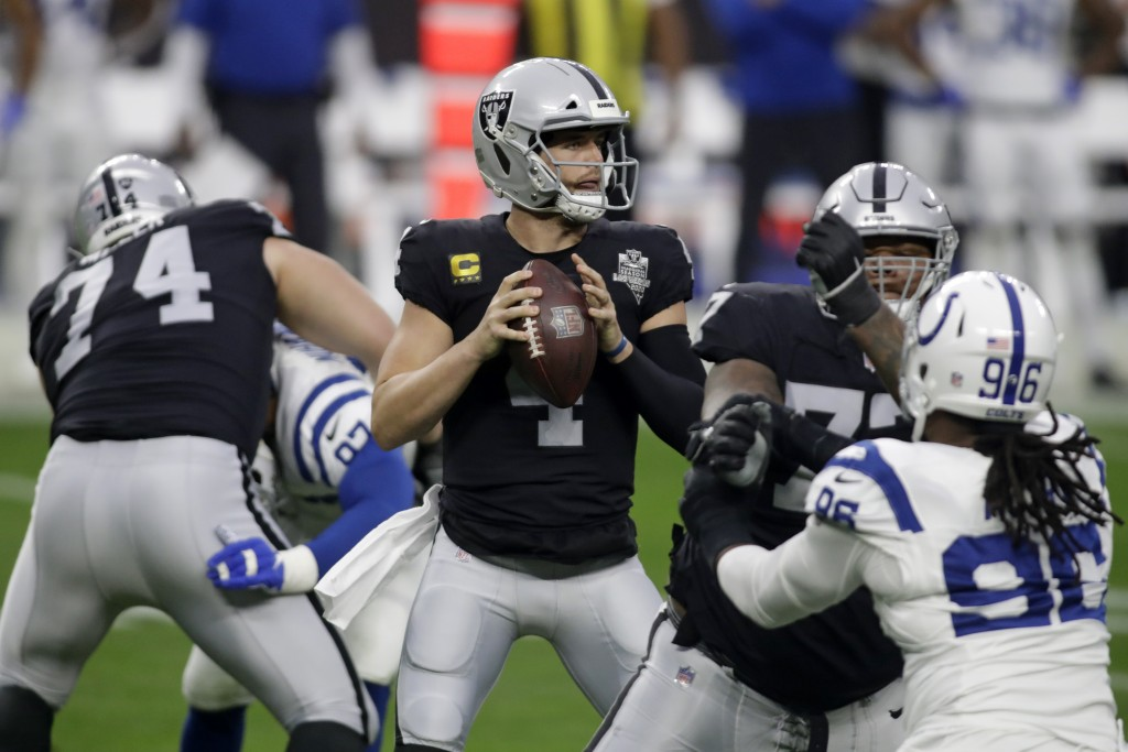 Las Vegas Raiders quarterback Derek Carr (4) looks to pass against the Indianapolis Colts during the first half of an NFL football game, Sunday, Dec. ...