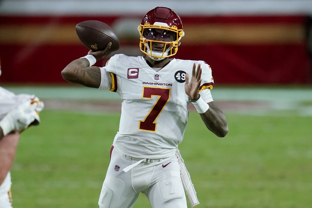 Washington Football Team quarterback Dwayne Haskins (7) throws against the San Francisco 49ers during the second half of an NFL football game, Sunday,...