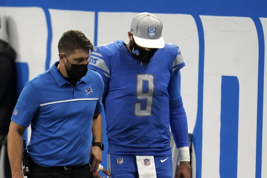 Detroit Lions quarterback Matthew Stafford (9) walks off the field during the second half of an NFL football game against the Green Bay Packers, Sunda...