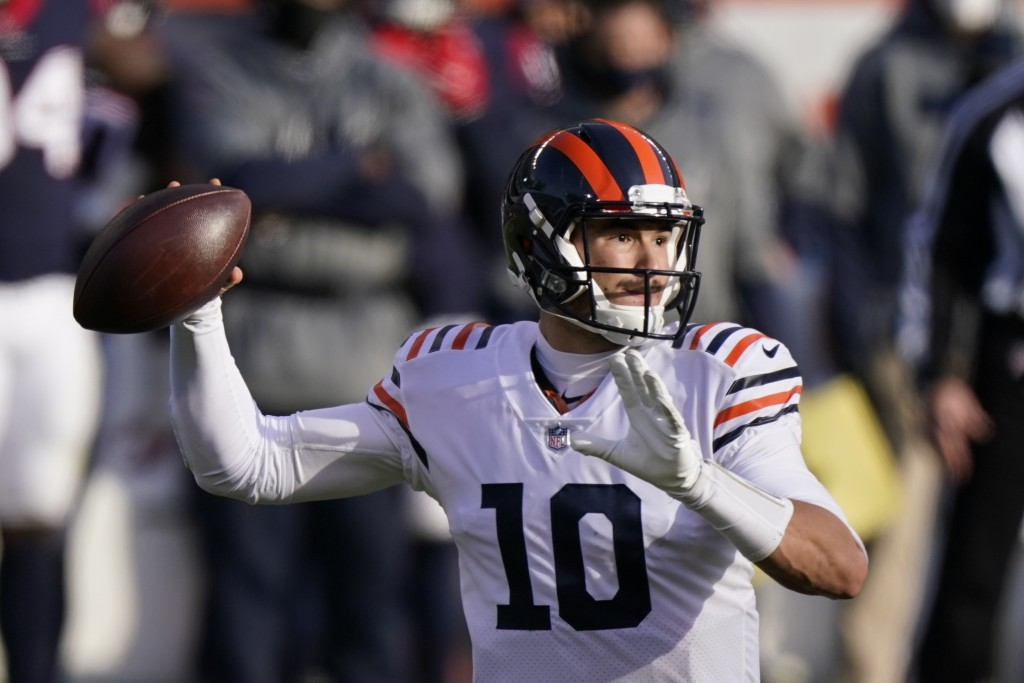 Chicago Bears quarterback Mitchell Trubisky (10) throws during the second half of an NFL football game against the Houston Texans, Sunday, Dec. 13, 20...
