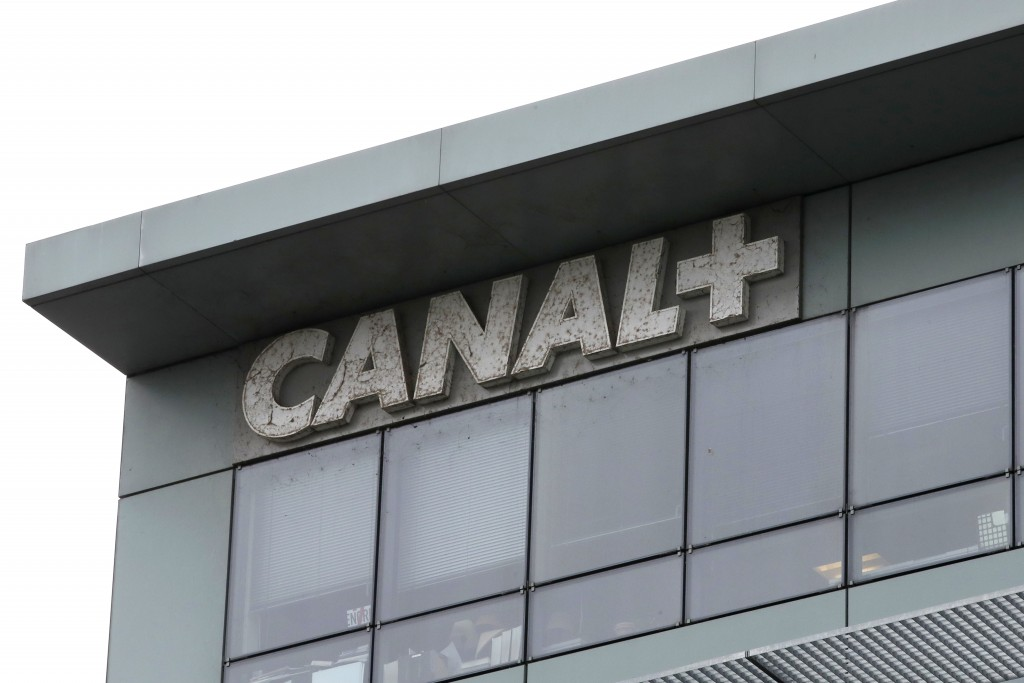 In this photo taken on Feb. 6, 2019 the headquarters of French TV Canal Plus, is pictured in Boulogne-Billancourt, outside Paris. Powerful French ente...