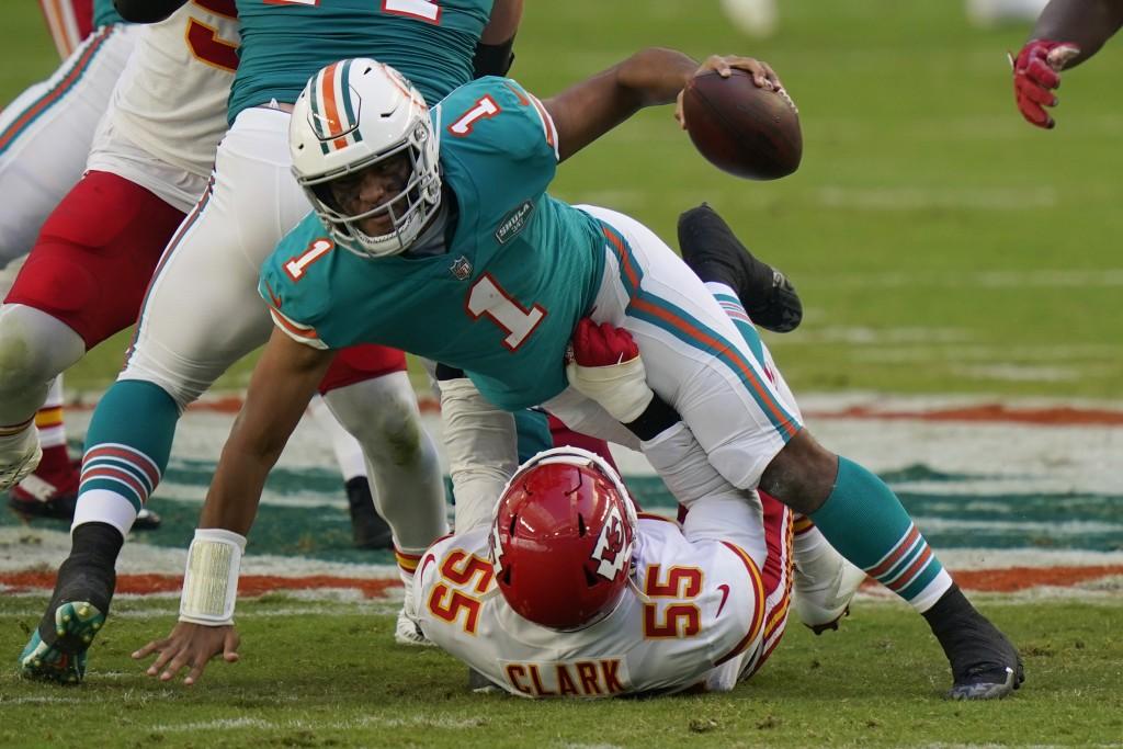 Kansas City Chiefs defensive end Frank Clark (55) sacks Miami Dolphins quarterback Tua Tagovailoa (1), during the first half of an NFL football game, ...