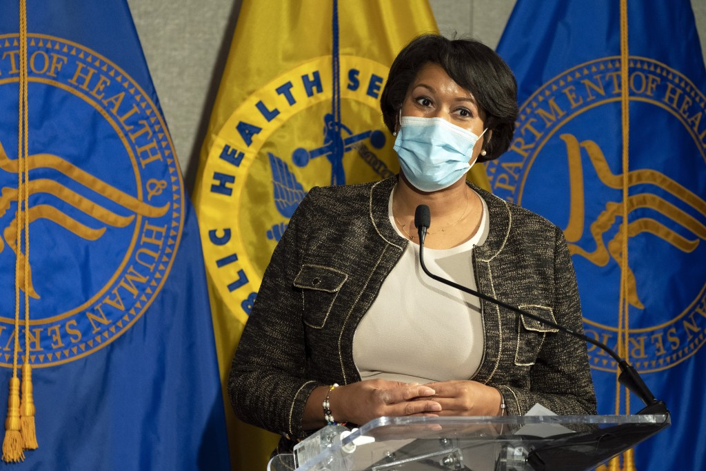 District of Columbia Mayor Muriel Bowser speaks during a news conference about the COVID-19 vaccine with Health and Human Services Secretary Alex Azar...