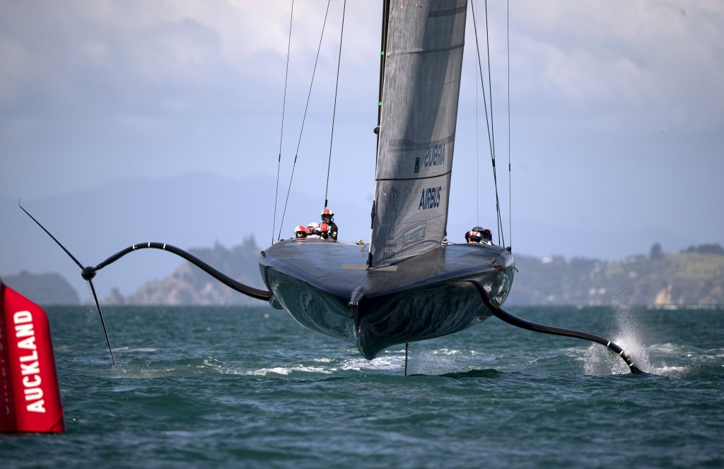 American Magic, the U.S. entry for the America's Cup yachting regatta practices on the harbor in Auckland, New Zealand, on Monday, Dec. 14, 2020. Amer...